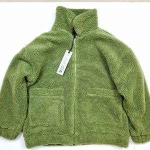 NWT I.AM.GIA Green Pixie Coat Sherpa Teedy Jacket